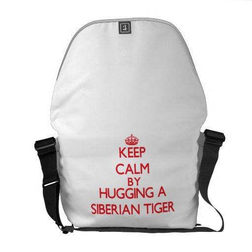 Keep calm by hugging a Siberian Tiger Messenger Bag
