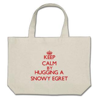 Keep calm by hugging a Snowy Egret Bag