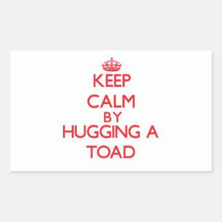 Keep calm by hugging a Toad Rectangular Sticker