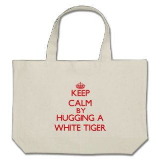 Keep calm by hugging a White Tiger Canvas Bags