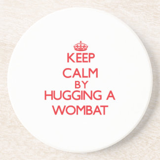 Keep calm by hugging a Wombat Beverage Coaster