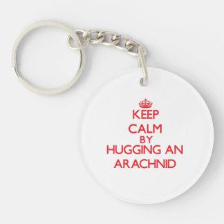 Keep calm by hugging an Arachnid Double-Sided Round Acrylic Key Ring
