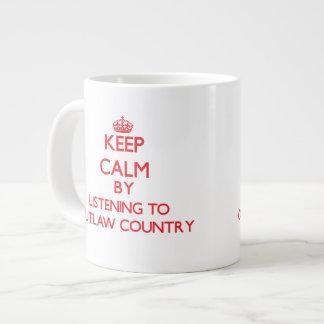 Keep calm by listening to OUTLAW COUNTRY Jumbo Mug