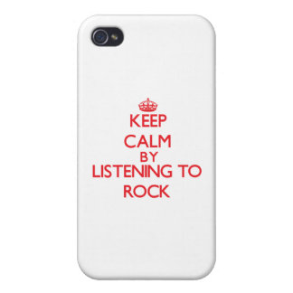 Keep calm by listening to ROCK iPhone 4 Cover