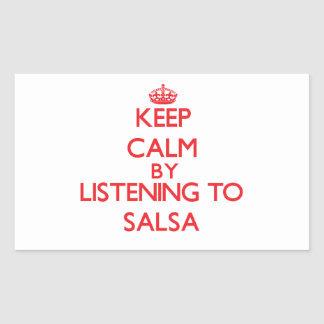 Keep calm by listening to SALSA Rectangle Sticker