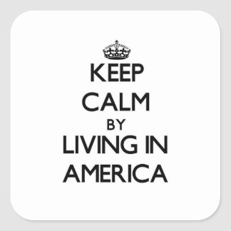 Keep Calm by Living in America Square Sticker