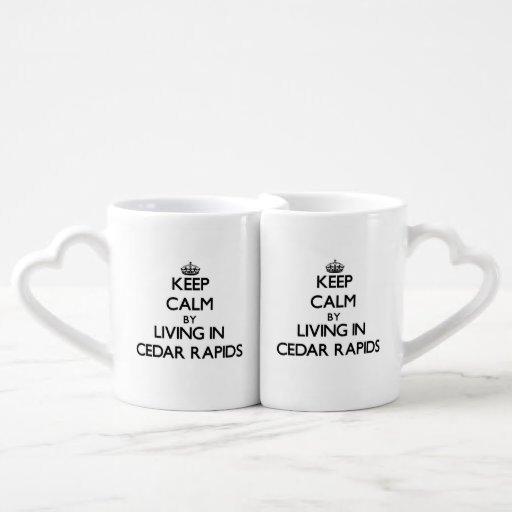 Keep Calm by Living in Cedar Rapids Couple Mugs
