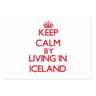Keep Calm by living in Iceland Large Business Cards (Pack Of 100)