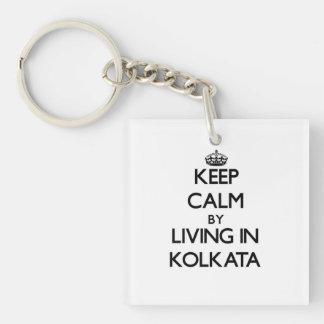 Keep Calm by Living in Kolkata Single-Sided Square Acrylic Key Ring