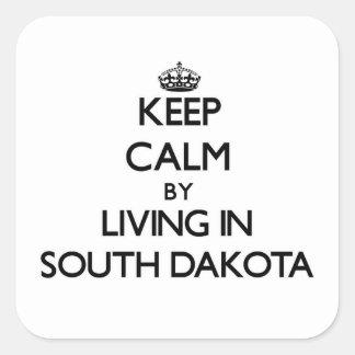 Keep Calm by Living in South Dakota Square Sticker