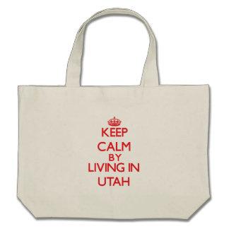Keep Calm by living in Utah Tote Bags