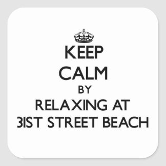 Keep calm by relaxing at 31St Street Beach Illinoi Sticker