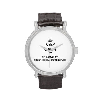 Keep calm by relaxing at Bolsa Chica State Beach C Wristwatch