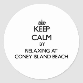 Keep calm by relaxing at Coney Island Beach New Yo Sticker