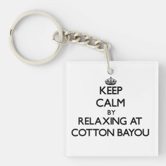 Keep calm by relaxing at Cotton Bayou Alabama Single-Sided Square Acrylic Keychain