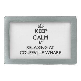 Keep calm by relaxing at Coupeville Wharf Washingt Rectangular Belt Buckle