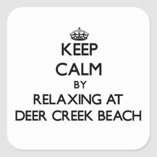 Keep calm by relaxing at Deer Creek Beach Californ Square Stickers
