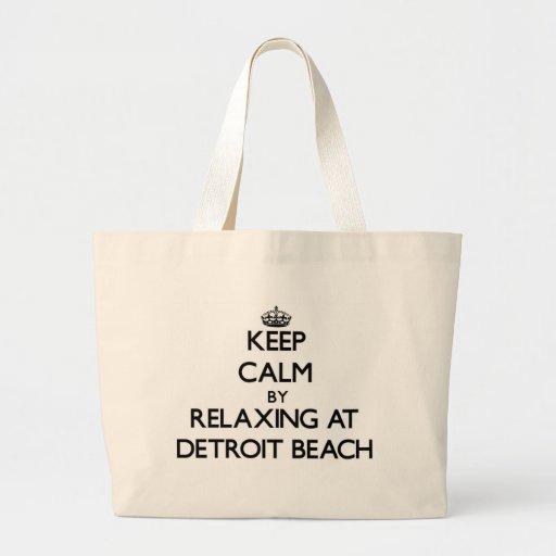 Keep calm by relaxing at Detroit Beach Michigan Canvas Bag