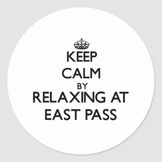 Keep calm by relaxing at East Pass Florida Round Stickers