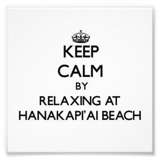 Keep calm by relaxing at Hanakapi'Ai Beach Hawaii Photograph
