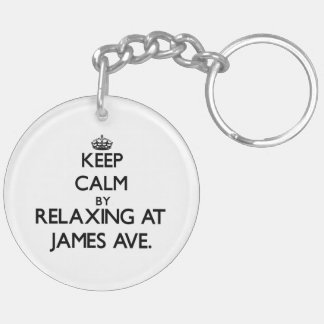 Keep calm by relaxing at James Ave. Massachusetts Key Chain