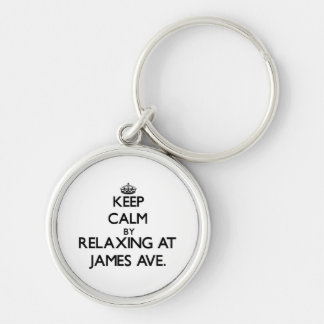 Keep calm by relaxing at James Ave. Massachusetts Key Chains