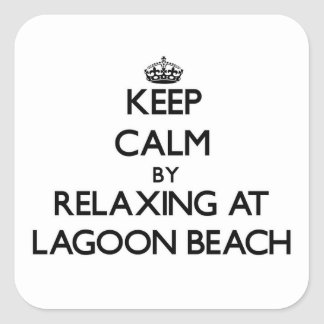 Keep calm by relaxing at Lagoon Beach Maine Square Sticker