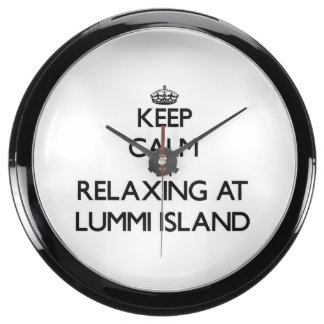 Keep calm by relaxing at Lummi Island Washington Aqua Clock