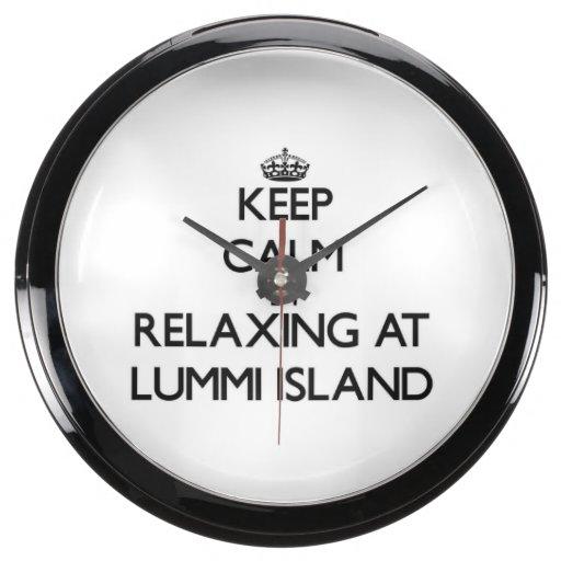 Keep calm by relaxing at Lummi Island Washington Aqua Clock
