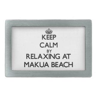 Keep calm by relaxing at Makua Beach Hawaii Belt Buckles