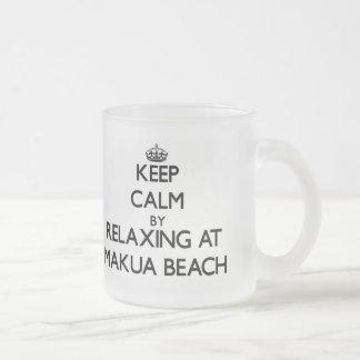 Keep calm by relaxing at Makua Beach Hawaii Mug