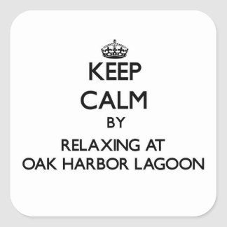 Keep calm by relaxing at Oak Harbor Lagoon Washing Square Stickers