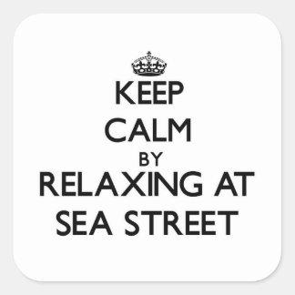 Keep calm by relaxing at Sea Street Massachusetts Sticker