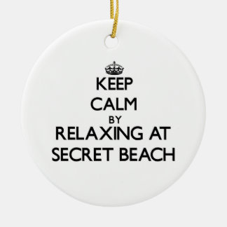 Keep calm by relaxing at Secret Beach Hawaii Christmas Tree Ornaments