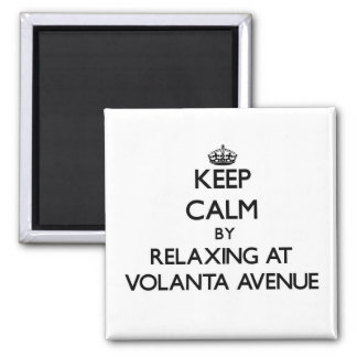 Keep calm by relaxing at Volanta Avenue Alabama Square Magnet