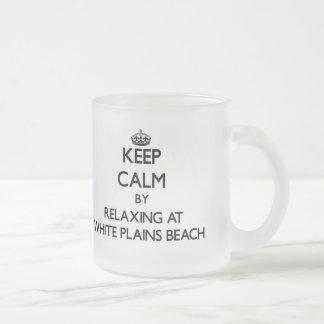 Keep calm by relaxing at White Plains Beach Hawaii Coffee Mug