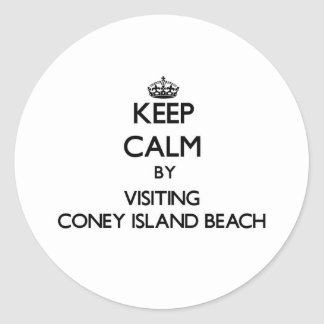 Keep calm by visiting Coney Island Beach New York Stickers