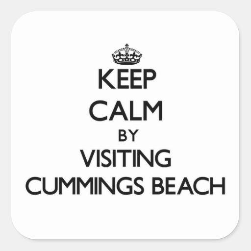 Keep calm by visiting Cummings Beach Connecticut Square Sticker