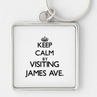 Keep calm by visiting James Ave. Massachusetts Keychain