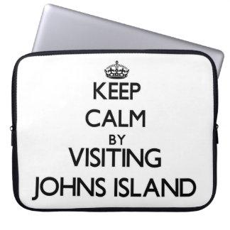 Keep calm by visiting Johns Island Washington Laptop Sleeve