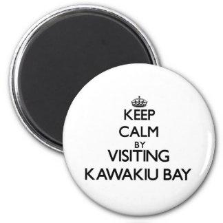 Keep calm by visiting Kawakiu Bay Hawaii 6 Cm Round Magnet