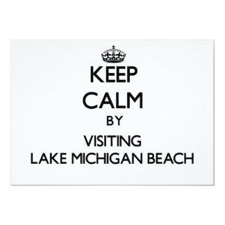 "Keep calm by visiting Lake Michigan Beach Michigan 5"" X 7"" Invitation Card"