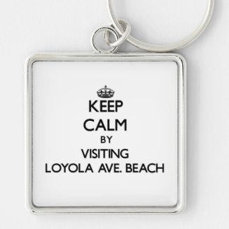 Keep calm by visiting Loyola Ave. Beach Illinois Keychain