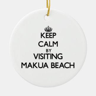 Keep calm by visiting Makua Beach Hawaii Ornaments