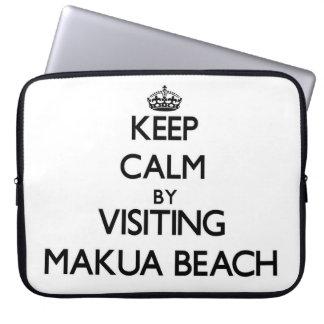Keep calm by visiting Makua Beach Hawaii Laptop Computer Sleeves