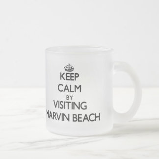 Keep calm by visiting Marvin Beach Connecticut 10 Oz Frosted Glass Coffee Mug