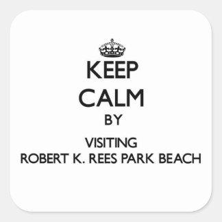 Keep calm by visiting Robert K. Rees Park Beach Fl Square Sticker
