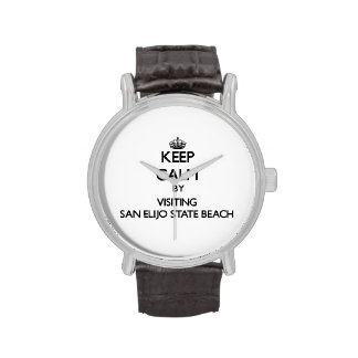 Keep calm by visiting San Elijo State Beach Califo Wristwatch