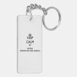Keep calm by visiting Sherwin Ave. Park & Beach Il Acrylic Keychain
