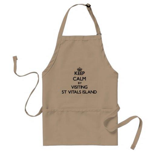 Keep calm by visiting St Vitals Island Michigan Aprons